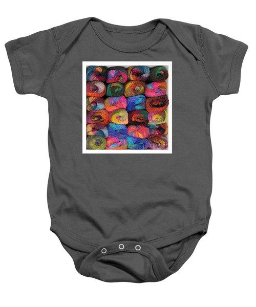 Colorful Knitting Yarn Baby Onesie