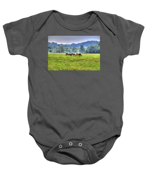 Baby Onesie featuring the photograph Horses In A Field by Jonny D