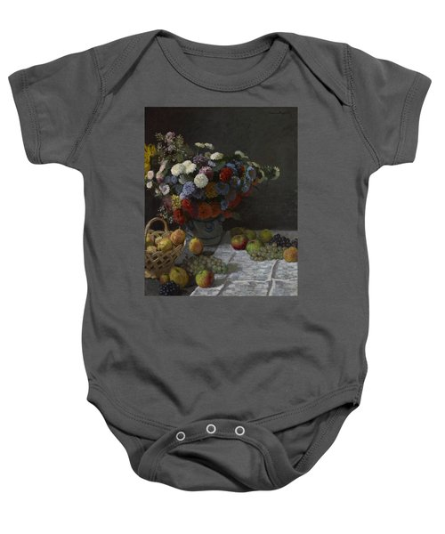 Still Life With Flowers And Fruit Baby Onesie