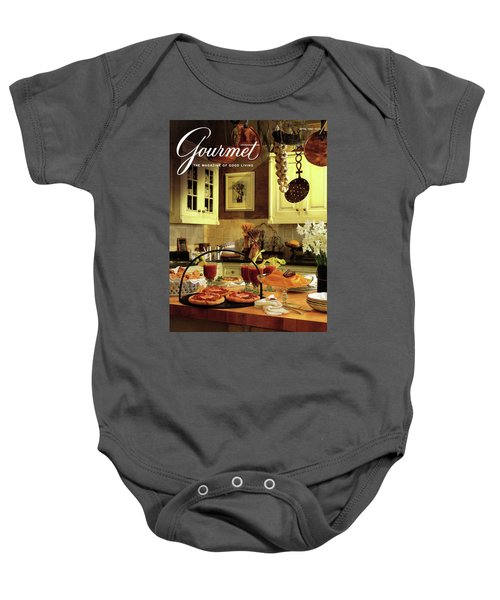 A Buffet Brunch Party Baby Onesie by Romulo Yanes