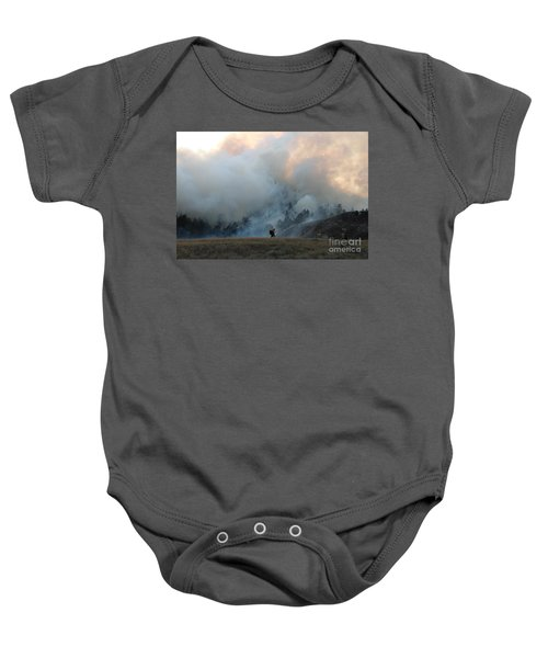 A Solitary Firefighter On The White Draw Fire Baby Onesie