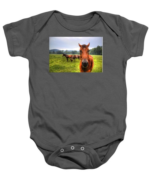 Baby Onesie featuring the photograph A Starring Horse 2 by Jonny D