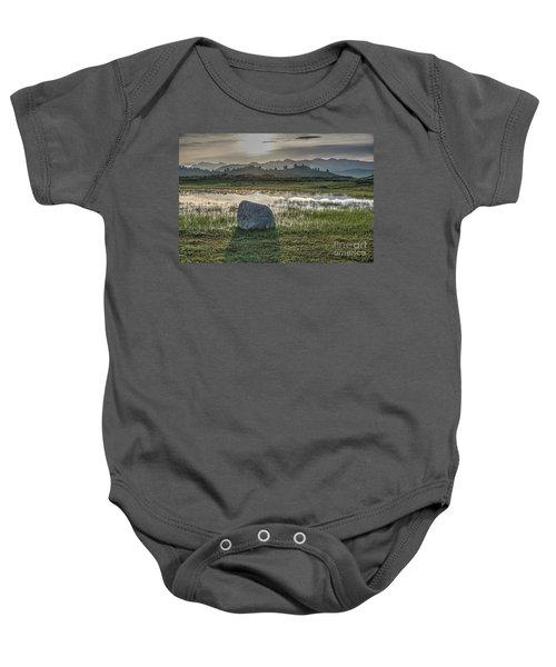 A Yellowstone Sunrise And Hazy Morning Ridges Baby Onesie