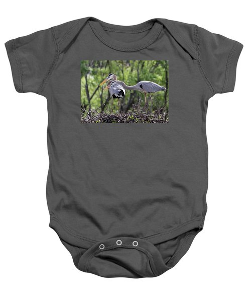 Affectionate Great Blue Heron Mates Baby Onesie