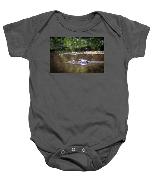 Alligator Swimming In Bayou 1 Baby Onesie