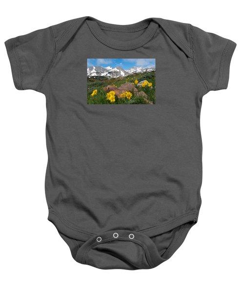 Alpine Sunflower Mountain Landscape Baby Onesie