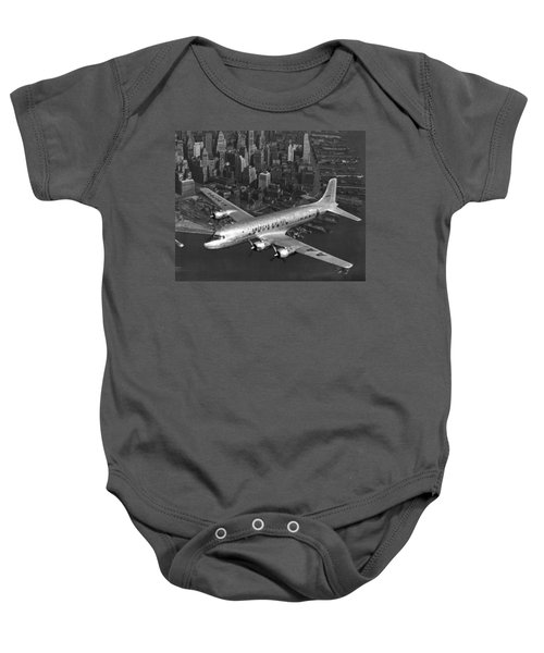 American Dc-6 Flying Over Nyc Baby Onesie
