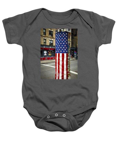 American Flag Tiles Baby Onesie