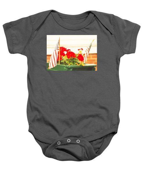 American Flags And Geraniums In A Wheelbarrow In Maine, One Baby Onesie