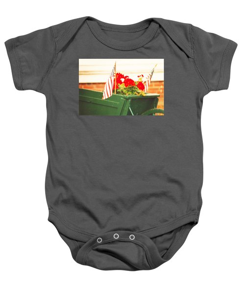 American Flags And Geraniums In A Wheelbarrow In Maine, Two Baby Onesie