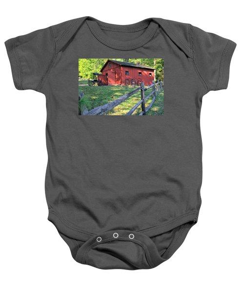 Amish Barn Along A Fenceline Baby Onesie