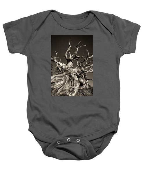 Ancient Bristlecone Pine In Black And White Baby Onesie
