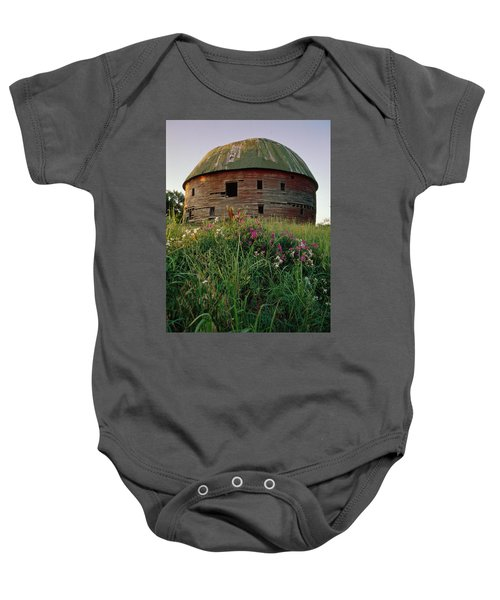 Arcadia Round Barn And Wildflowers Baby Onesie