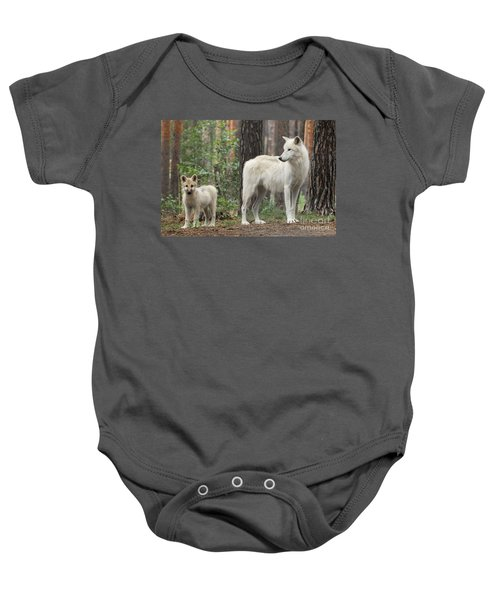 Arctic Wolf With Pup, Canis Lupus Albus Baby Onesie