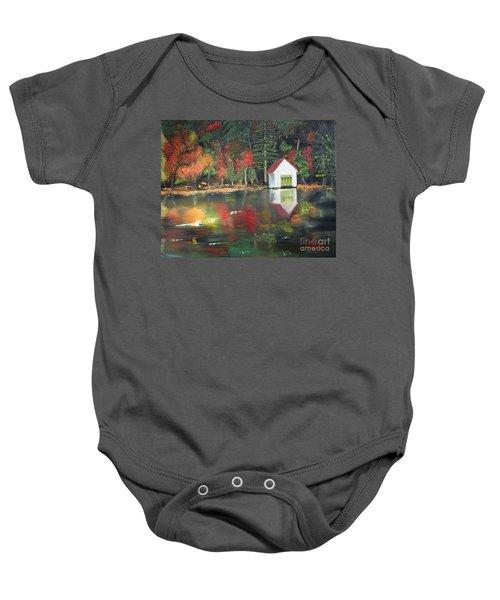 Autumn - Lake - Reflecton Baby Onesie