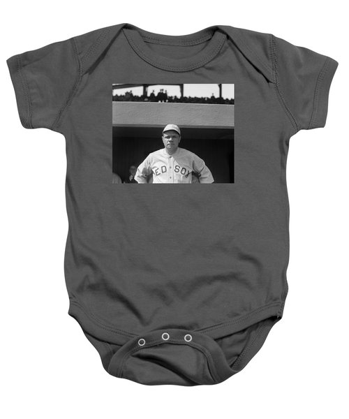Babe Ruth In Red Sox Uniform Baby Onesie by Underwood Archives