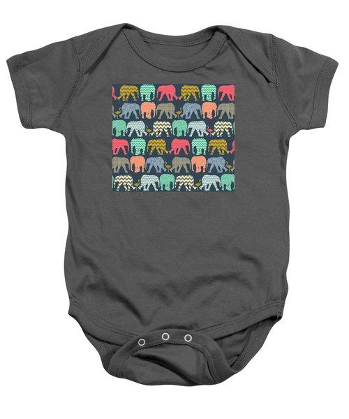 Baby Elephants And Flamingos Baby Onesie