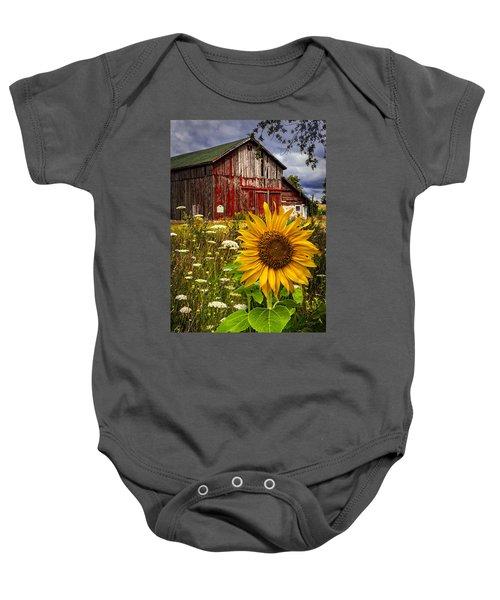 Barn Meadow Flowers Baby Onesie