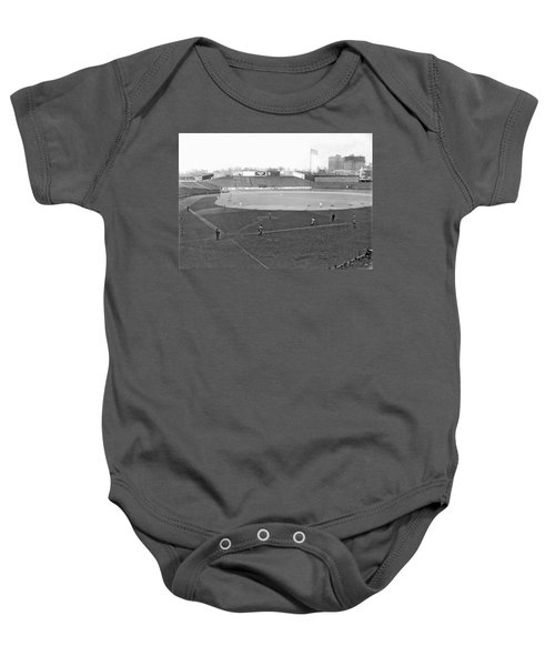 Baseball At Yankee Stadium Baby Onesie by Underwood Archives
