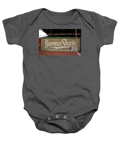 Baby Onesie featuring the photograph Baseball Field Burma Shave Sign by Frank Romeo
