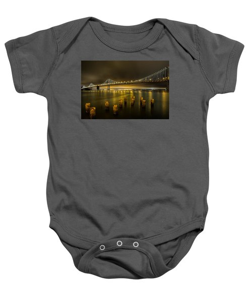 Bay Bridge And Clouds At Night Baby Onesie