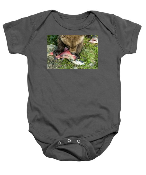 Bear Cub Eating Salmon Baby Onesie