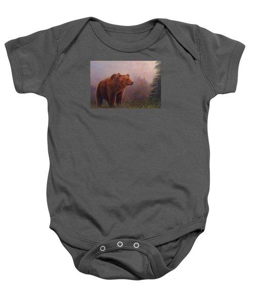 Bear In The Mist Baby Onesie