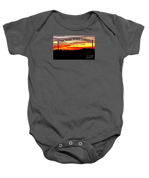 Beautiful Sunset And Emmett Sport Comples Baby Onesie by Robert Bales