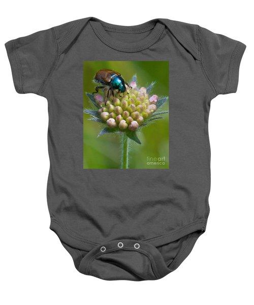 Beetle Sitting On Flower Baby Onesie