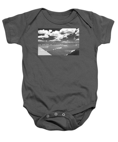 Big Lake Clouds Black White Baby Onesie
