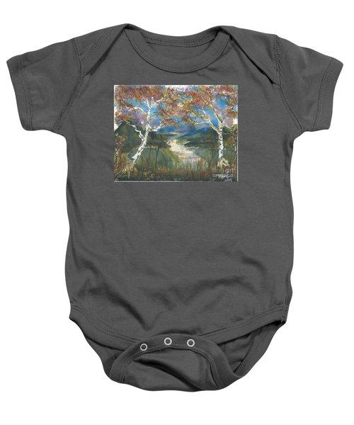 Birch Trees On The Ridge  Baby Onesie