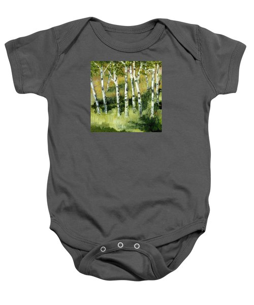 Birches On A Hill Baby Onesie