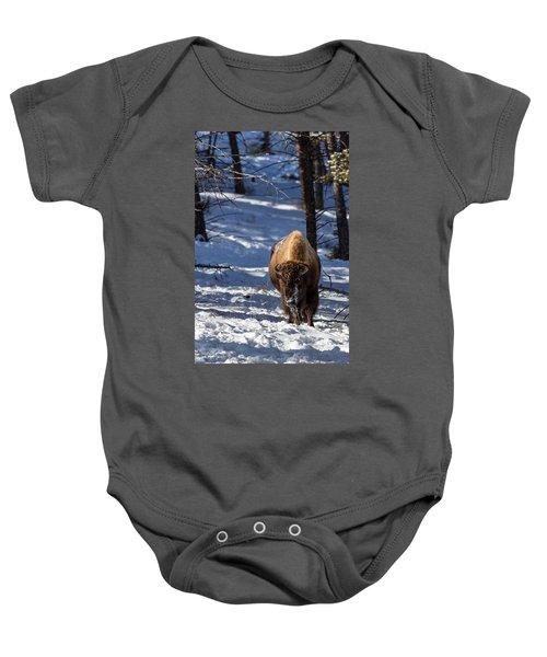 Bison In Winter Baby Onesie