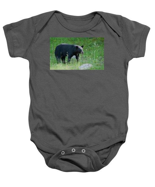 Black Bear Female Baby Onesie