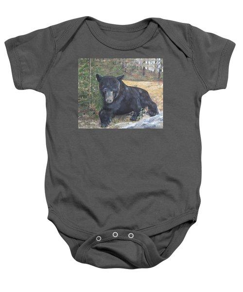 Black Bear - Wildlife Art -scruffy Baby Onesie