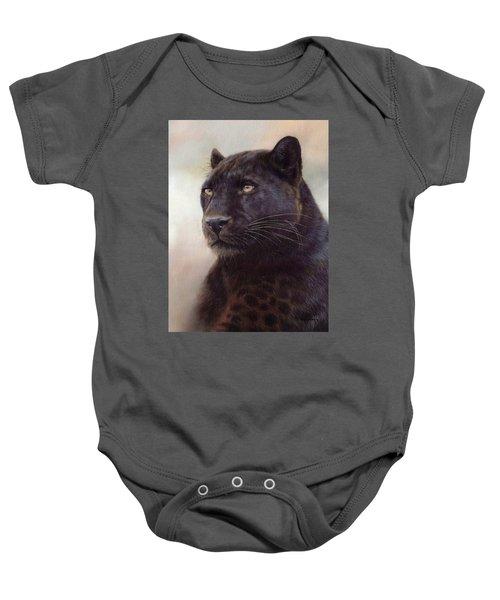 Black Leopard Painting Baby Onesie by Rachel Stribbling