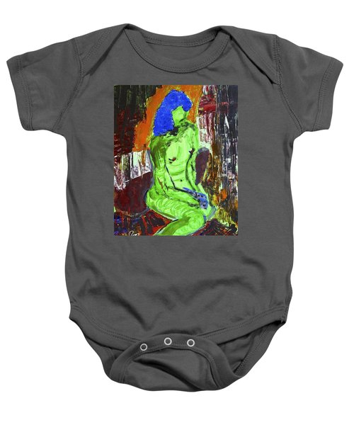 Blue Haired Nude Baby Onesie