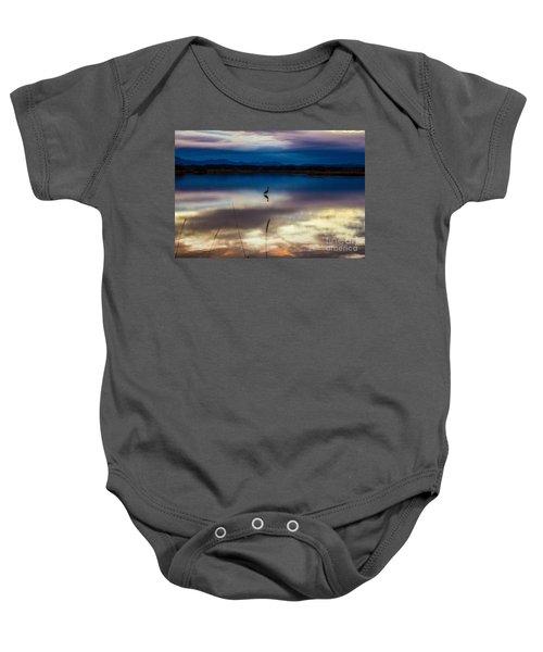 Blue Heron Sun Set Baby Onesie