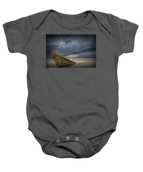 Boat With Gulls On The Beach With Oncoming Storm Baby Onesie
