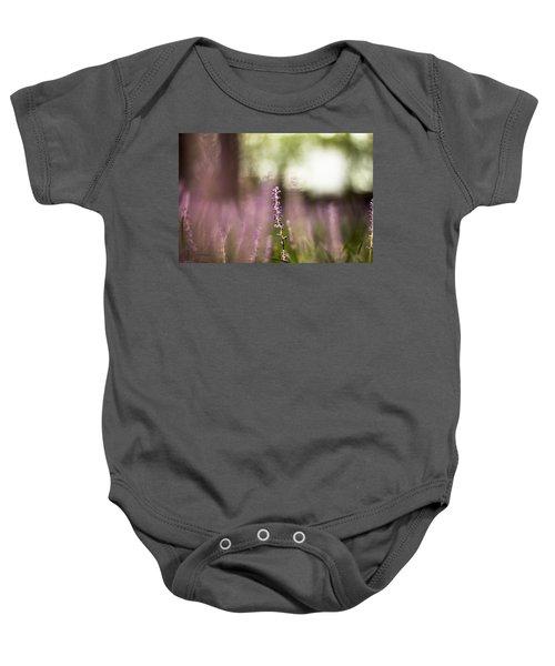 Bokeh With Purple Wildflower Baby Onesie