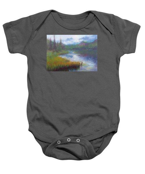 Bonnie Lake - Alaska Misty Landscape Baby Onesie