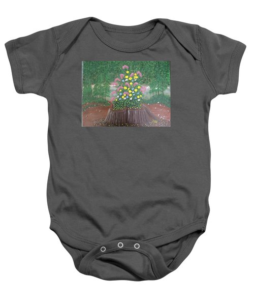 Bouquet On A Stump Baby Onesie