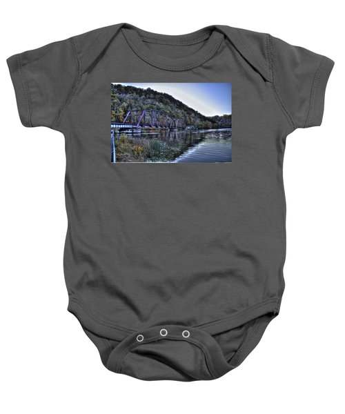 Baby Onesie featuring the photograph Bridge On A Lake by Jonny D