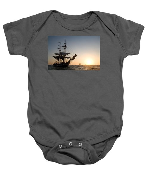 Brig Pilgrim At Sunset Baby Onesie