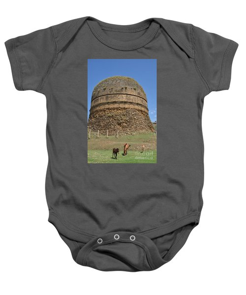 Buddhist Religious Stupa Horse And Mules Swat Valley Pakistan Baby Onesie