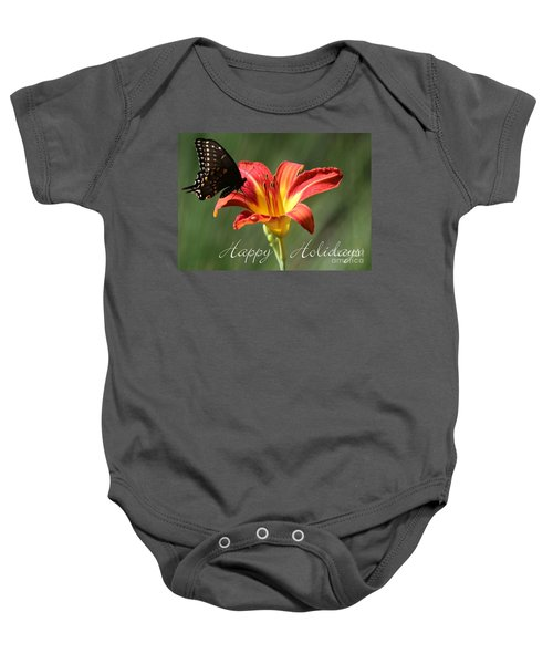 Butterfly And Lily Holiday Card Baby Onesie