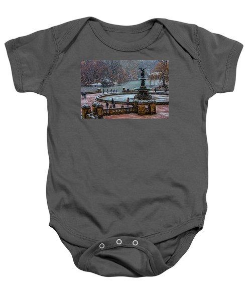 Central Park Snow Storm Baby Onesie