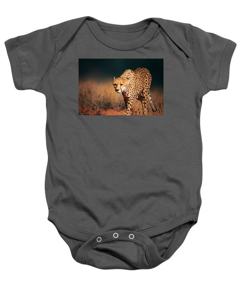 Cheetah Approaching From The Front Baby Onesie