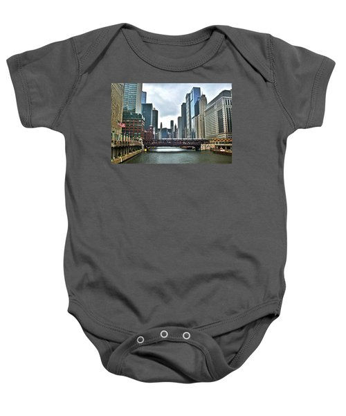 Chicago River And City Baby Onesie
