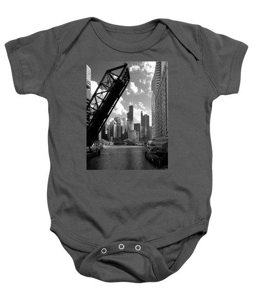 Chicago-skyline-raised Bridge Black White Baby Onesie